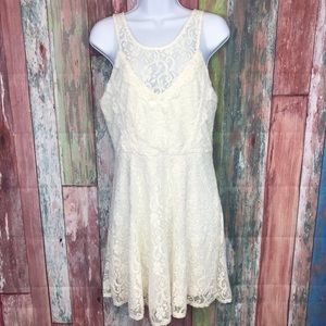 Laced off white Skater Dress
